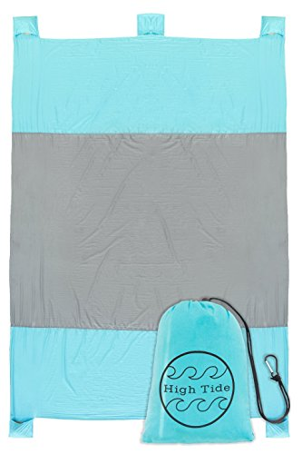 Compact Sand Proof Beach Blanket XL Family Size 7' X 9' Portable Lightweight Quick Dry Parachute Nylon Picnic Mat For Camping and Outdoor Events, Includes 4 Sand Pockets and 1 - Fit Meadows Park