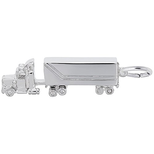 Semi Truck Charm In 14k White Gold, Charms for Bracelets and - Gold Charm Truck 14k