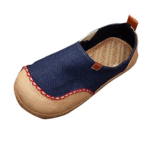 GIY Womens Boat Loafers Flat Moccasin Slip-On Round Toe Linen Casual Retro Loafers Sandals Shoes Blue 5ef9uYjPBu