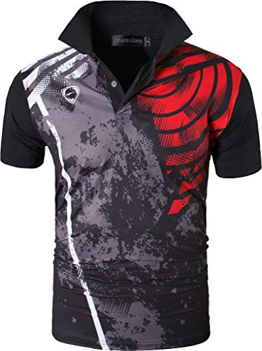 jeansian Herren Summer Sportswear Wicking Breathable Short Sleeve Quick Dry Polo T-Shirts Tops LSL195