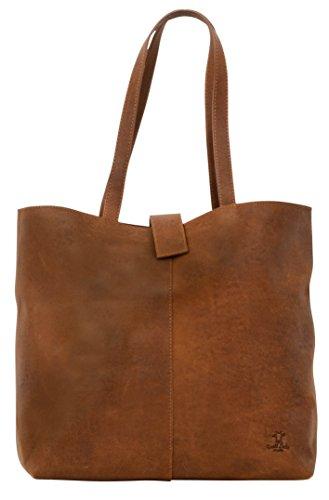 """Gusti Leder studio """"Alexandra"""" borsa shopping per acquisti passeggio Macbook 15"""" da donna a spalla in vera pelle di bovino marrone 2H52-33-1"""