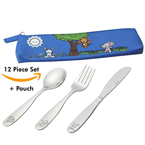 18/10 Stainless Steel Kids Silverware, Child and Toddler Safe Cutlery Flatware - 12 Piece Eating Utensil Set with 4 Knives, 4 Forks, 4 Spoons - Portable Carrying Pouch Included