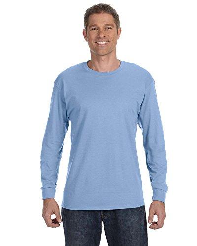 HANES Long Sleeve Tagless ComfortSoft T-Shirt,Light Blue,M