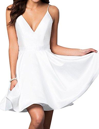 VinBridal Spaghetti Straps Satin Short Ball Gown Homecoming Dresses with Pocket White - White Dress Satin