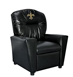 Imperial Officially Licensed NFL Furniture: Youth Faux Leather Recliner, New Orleans Saints