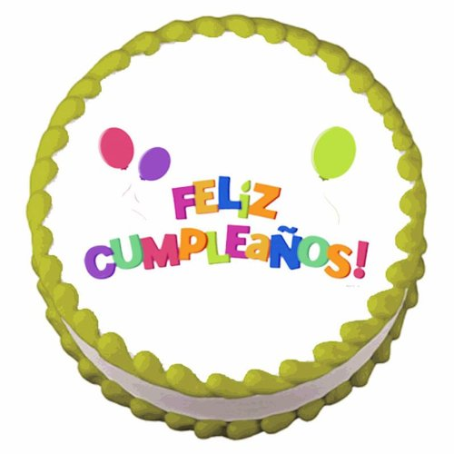 Amazon.com: Feliz Cumpleanos ~ Edible Image Cake / Cupcake ...