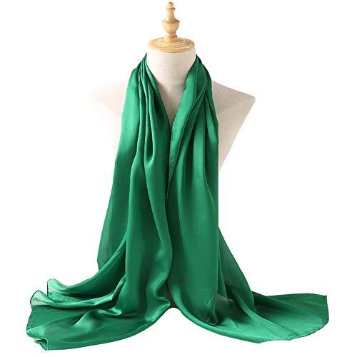 Bellonesc Silk Scarf 100% silk Long Lightweight Sunscreen Shawls for Women (fresh - Silk Green