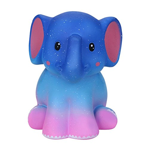Respctful Jumbo Galaxy Elephant Slow Rising Gift Squishies Cream Scented Kids Soft Relief Toys Collection (Blue)