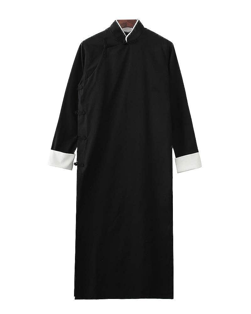 PengGengA Herren Mantel Jacke Tang-Anzug Chinesisch Traditionell Lange /Ärmel Kampfkunst Kung Fu Leinenhemd