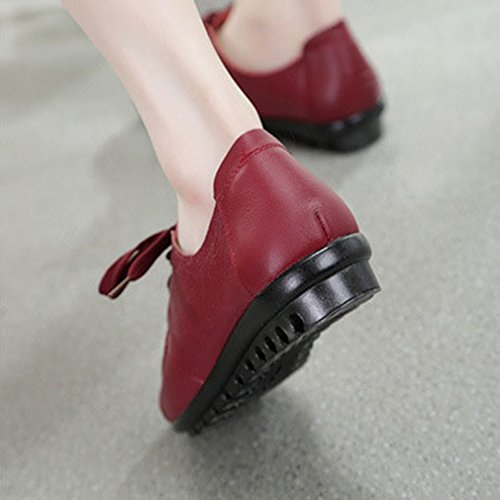 Giy Kvinna Tillfälliga Mockasiner Lägenheter Loafers Komfort Snörning Klassisk Klänning Walking Öre Dagdrivaren Skor Röd