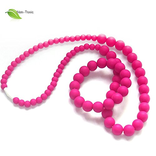 Silicone Teething Necklace - by Modern Ohana - BPA Free, Silicone Jewelry for Mom and Baby (Round Beads Necklace and Bracelet Set) (Pink/Fuchsia)
