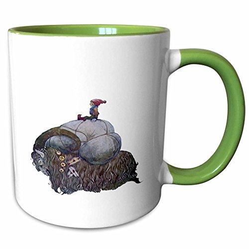3dRose 243189_7 Jullbocken Yule Goat Scandinavian Christmas Tradit Ceramic Mug, Green/White