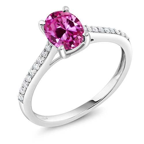 Gold Pink Sapphire Solitaire (10K White Gold Pave Diamond Engagement Solitaire Ring set with 8x6mm Oval Pink Created Sapphire (1.75 Cttw, Available in size 5, 6, 7, 8, 9))