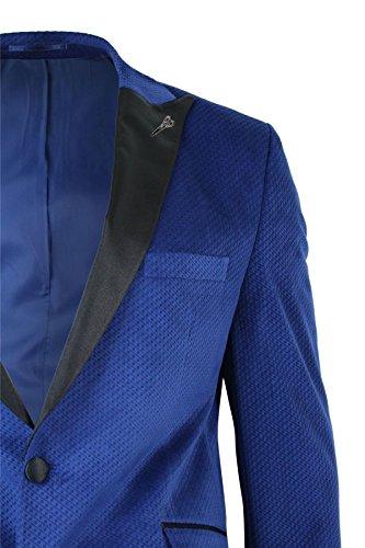 CB Mens Slim Fit 1 Button Velvet Blazer Tuxedo Dinner Jacket Royal Blue Black blue, 54