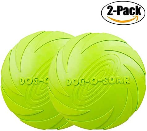 Maikerry Dog Frisbee Rubber Flyer Dog Flying Disc Dog Toys Best Rubber --100% Natural Non-toxic Assorted Colors (Large, Green)