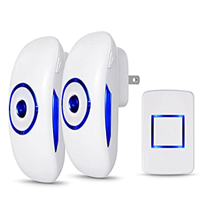 Wireless Door Bell Kit, 2 Plug-In Receivers & 1 Remote Push Button, Waterproof Doorbell with 1000 Feet Operating