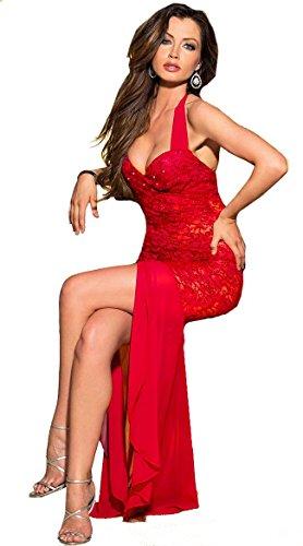 Aimerfeel atractivo del cordón roja larga noche de vestir 38-42 Longitud 1.17m Rojo