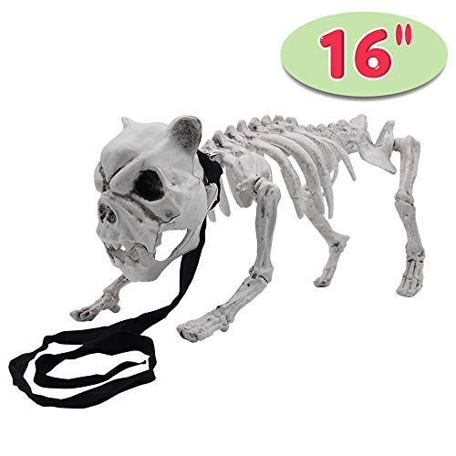 Halloween Decoration 16 Pose-N-Stay Puppy Skeleton Plastic Dog Bones with Posable Joints for Pose Skeleton Prop Indoor/Outdoor Spooky Scene Party Favors Décor.