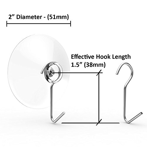 Suction Cup Hooks, Set of 12, 2'' Clear Heavy Duty Cups W/Stainless Hook, Best for Bathroom, Kitchen & Windows - Super Strong Pads Makes Them Ideal for Outdoor Wreaths & Bird Feeders (12) by Tranquil Outdoors (Image #2)