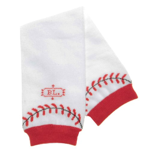 BabyLegs Leg Warmers, Home Run, White/Red, One Size Fits ()