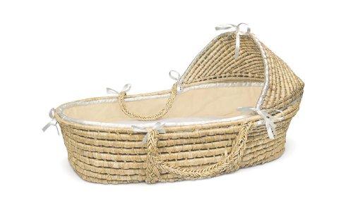 Buy Bargain Badger Basket Natural Moses Basket with Hood, Ecru Waffle Bedding