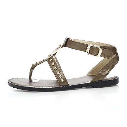 Heels AmoonyFashion Sandals Cow Low Split Toe Leather Womens Buckle Gold Solid xrwFHrzq81