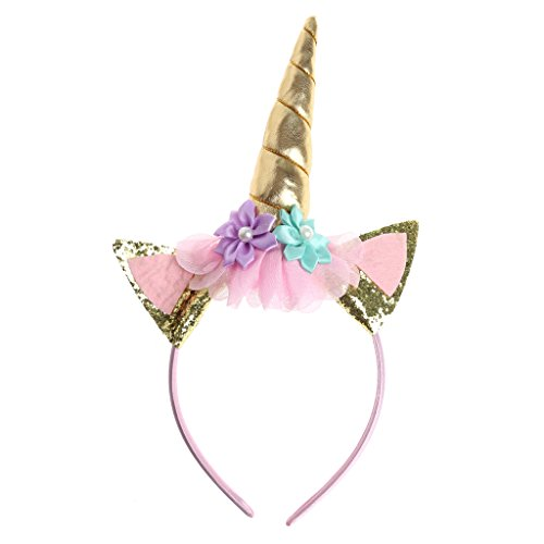 Amrka Magical Unicorn Hairband, Kid Baby Hair Accessories Party Horn Headband Costume Cosplay Decorative (Gold) - Magical Girl Costume Maker