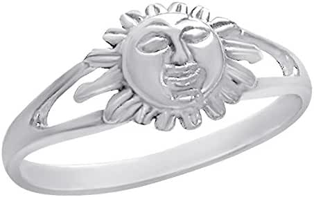 Fantom 925 Sterling Silver Bright Sun Design Ring With Matte Finish - Light Weight