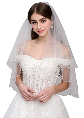 Malishow 2 Tiers Beaded Wedding Veil Sequin Pearl Edge Bling Bridal Veils New white