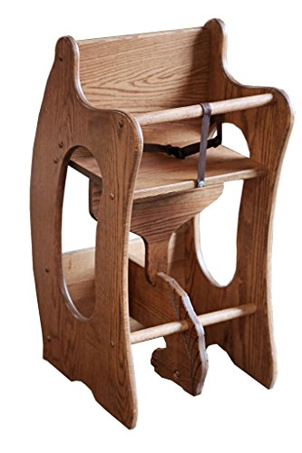 (Amish Craftsman Wooden Furniture 3-in-1 Childrens High Chair, Wooden Rocking Horse, Writing Desk Solid Oak Wood (Provincial))