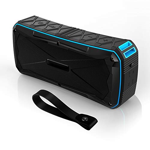 Portable Bluetooth Speaker Waterproof IP67,20W Stereo Pairing,12H Playtime Enhanced Bass Wireless Outdoor Speakers with Built-in Mic and Power Bank for Party,Travel,Camping,Beach,Shower