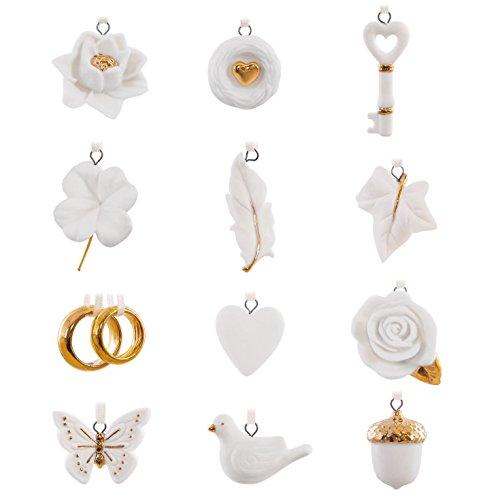 Hallmark Keepsake 2017 Wedding Wishes Mini Porcelain Christmas Ornaments, Set of 12