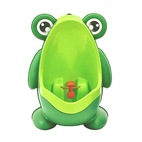 (Cute Frog Shape Children Kids Potty Training Urinal for Boys Removable Toilet Pee Trainer Bathroom with Funny Aiming Target Green)