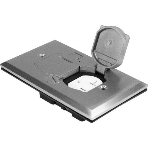 Orbit Industries FLB-D-C-SS Flip Type Floor Box Cover Only with Duplex Receptacle, Tamper Resistant, Stainless Steel