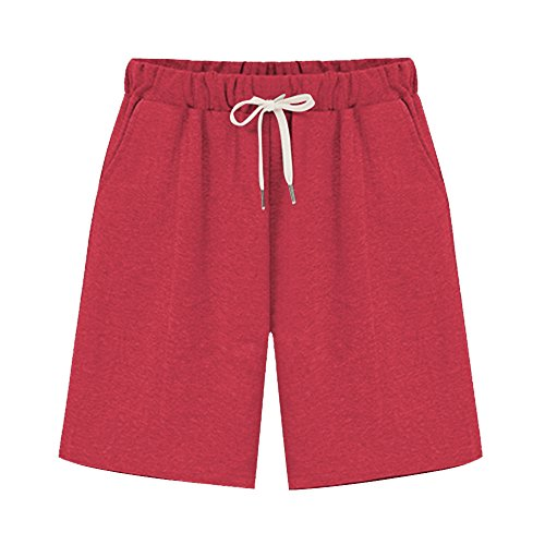 Women's Elastic Waist Soft Jersey Knit Bermuda Shorts with Drawstring Red Tag 5XL-US 18 ()