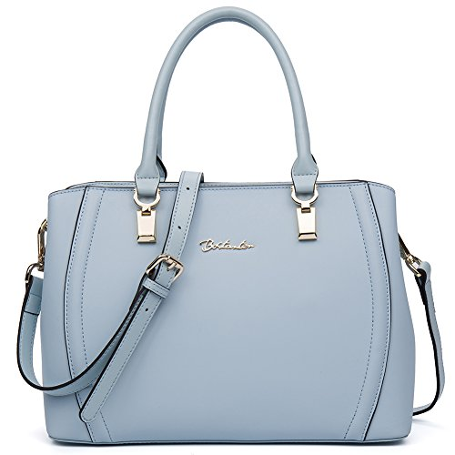 BOSTANTEN Womens Leather Handbag Tote Clutch Purse Satchel Shoulder Bag Light Blue (Blue Leather Handbags)