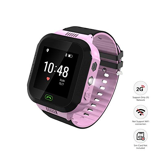 homectrl Wonbo Kid Smart Watch, Soft Silicone GPS Tracker with SIM Slot SOS Call Camera Touch Screen Real-time Location Finder Anti-Lost Alarm Remote Remove Alert for Boys Girls (Black&Pink)