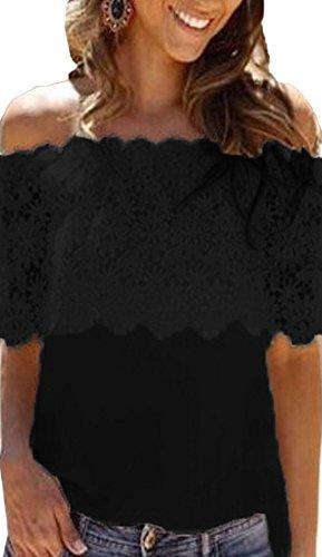 Dentelle Sexy Unie Femme Chemises Bateau Noir Couleur Fashion Shirt Blouse Epissure Haut Svelte T Col Et wpftgYpx