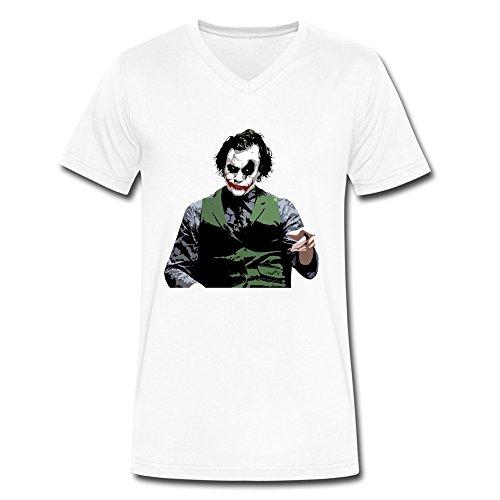 DeMai Mens V-Neck Short Sleeve Batman The Joker The Dark Knight 1 T-shirt L White
