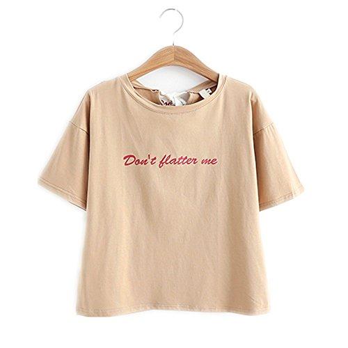 Camisetas Color Verano Para De Alumnas Coreano Beige Estilo Corta Packitcute Dulce Mujeres Manga qFUdwREWB