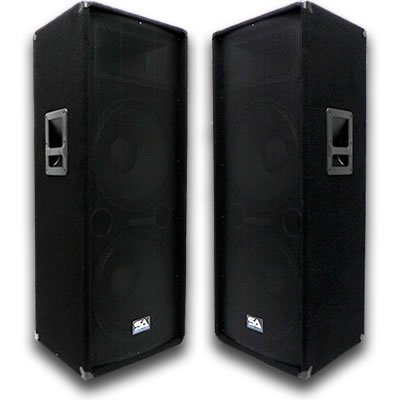 Seismic Audio - Pair of Dual 15'' PA DJ SPEAKERS 1400 Watts PRO AUDIO - Band, Bar, Wedding, Church, Karaoke by Seismic Audio