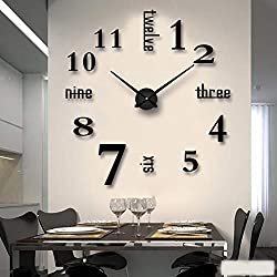 FASHION in THE CITY New 3D DIY Mirror Surface Wall Clocks Modern Design Living Room Decorative Wall Watches ... (Black)