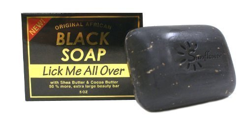Original African Black Soap w/ Shea Butter & Cocoa Butter, Lick Me All Over 5oz