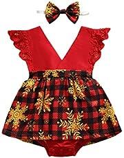 طفلة رومبير الرضع سانتا البيت منقوشة ندفة الثلج طباعة يطير كم المنشعب أزرار اللباس شكل بذلة (Color : Red, Size : 18M)