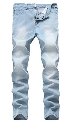 Qazel Vorrlon Men's Blue Skinny Jeans Stretch Washed Slim Fit Pencil Pants,Light Blue,32