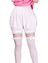 Women's White Cotton Lace Lolita Maid Shorts Bloomers