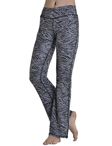 ChinFun Women's Performance Power Flex High Waist Bootleg Yoga Pants Inner Hidden Pocket Tummy Control 4 Way Stretch Bootcut Running Sweatpants Black Zebra Stripe Printing Pattern Size M