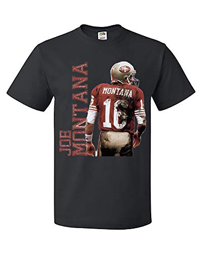 Palalula Men's American Football NFL San Francisco 49ers Joe Montana Tshirt Tee Shirt Tribute T-Shirt M06 XXL Black ()