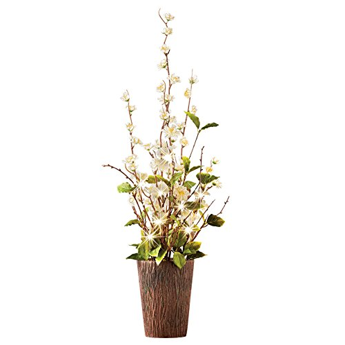 LED Lighted Rustic Cherry Blossom Floral Centerpiece Decoration - Spring, Summer, Wedding & Home Decor, White