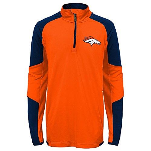 Outerstuff NFL Denver Broncos Youth Boys Beta 1/4 Zip Performance Top, Orange, Kids - Sweatshirt Broncos Denver Orange